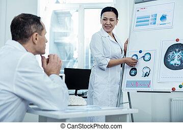 kellemes, asian woman, átnyújtás, neki, terv, képben látható, ideggyógyászat