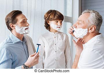 kellemes, borotva, idős, birtok, ember