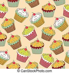 kellemes, cupcakes, seamless, motívum