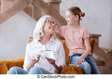 kellemes, karosszék, nő, öregedő, ülés