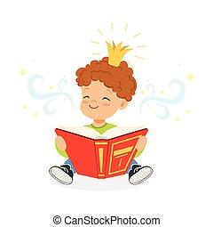 kellemes, kicsi fiú, olvas előjegyez, és, vágyálom mindenfelé, fairytale, gyerekek, fantázia, és, képzelet, színes, betű, vektor, ábra