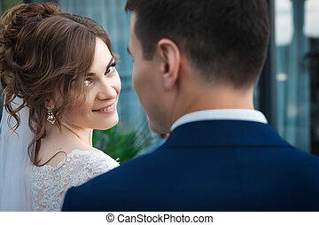 kellemes, newlywed, párosít
