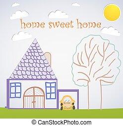 kellemes, otthon, kártya