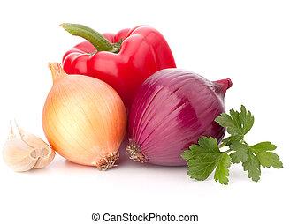 kellemes pepper, vöröshagyma, paradicsom, és, petrezselyem, zöld, halk élet