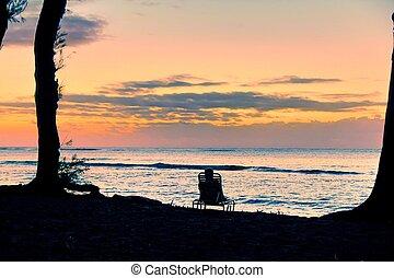 kellemes, tengerpart, napkelte, -ban, kauai