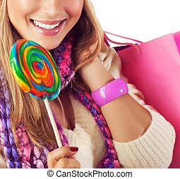 kellemes, woman eszik, cukorka