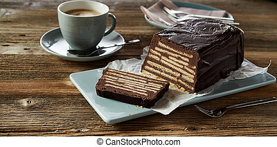 Kellerkuchen cake served with cup of coffee
