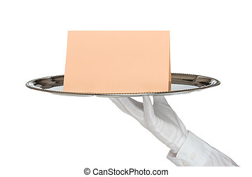 kellner tablett platte kellner isolated hintergrund wei es silber. Black Bedroom Furniture Sets. Home Design Ideas