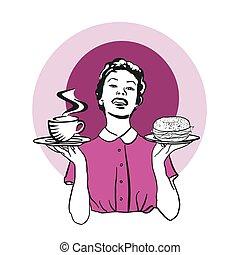 Kellnerin mit zwei Tellern, Kaffee und Bagel