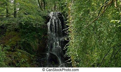 kells, bucht, haus, und, gärten, wasserfall, bezirk kerry, irland, -, eingestuft, version