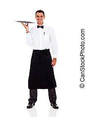 kelner, biały, odizolowany, szczęśliwy