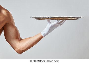 kelner, rocznik wina, rękawiczka, ręka, tło., muskularny, dzierżawa, biały, taca, srebro, opróżniać