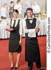 kelner, służba, handlowy, catering, wypadek, kelnerka