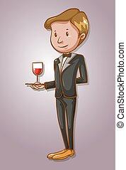 kelner, szkło, służąc, wino
