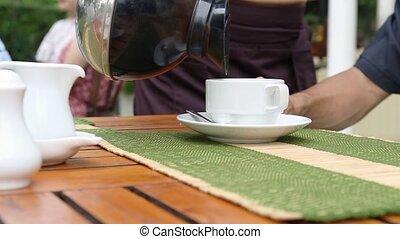kelnerka, producent, kawa, zsyp, cup.