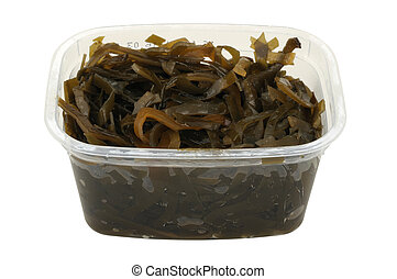 kelp salad in a plastic pot isolated on white background