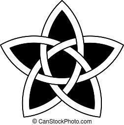 kelta, vektor, csillag, csomó, 5-point