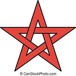 keltisch, 5-point, ster, knoop, (pentagram