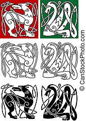 keltisch, abstract, dieren, stijl
