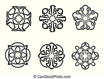 keltisch, frame, ronde, set, decoratief