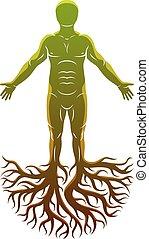 keltisch, gemaakt, atletisch, god, concept., boompje, vector, roots., oud, man
