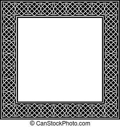 keltisch, knoop, frame