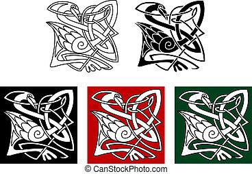 keltisch, reiger, stijl, vogel