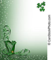 keltisch, st patricks, design, tag, harfe