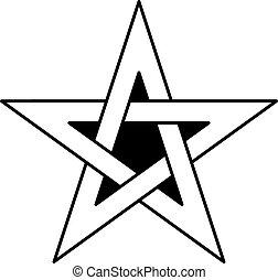 keltisch, vektor, stern, knoten, 5-point