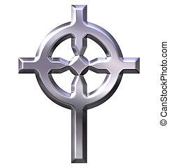 keltisk, 3, kors, silver