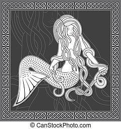 keltisk, grænse, havfrue