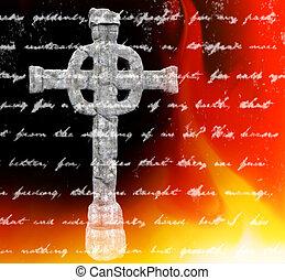 keltisk, isolerat, kors