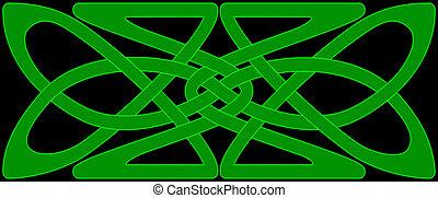 keltisk, knyta, panel