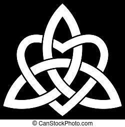 keltisk, triquetra, treenighet, knyta