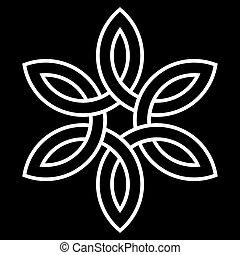 keltisk, vektor, 6-point, knyta
