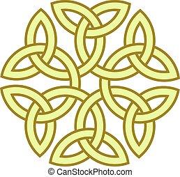 keltisk, vektor, flower-like, knyta