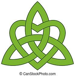 keltský, trojice, chomáč, (triquetra)