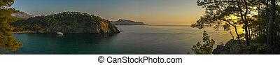 kemer, laguna, vista panorámica, en, salida del sol