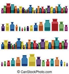 kemi, flaskor, färgrik, årgång, exponeringsglaskrus, medicin...
