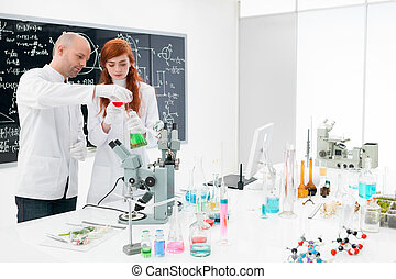 kemi, laboratorium., experiment