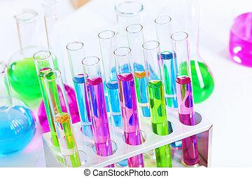 kemi, laboratorium glas, med, färga, vätskor