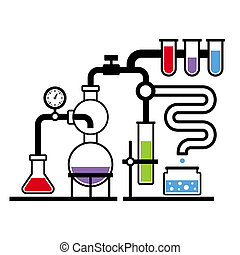 kemi, laboratorium, infographic, sätta, 3