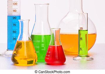 kemi, laboratorium, med, glas