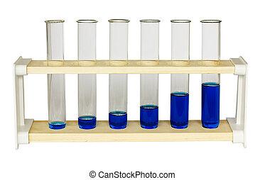 kemi, prøve rør, tilvækst, graph