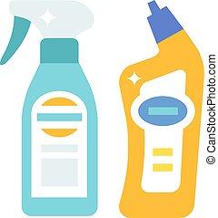 kemi, produkter, plastisk, rensning, hushåll, illustration, ...