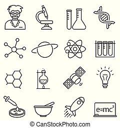 kemi, vetenskap, biologi, fodra, ikonen