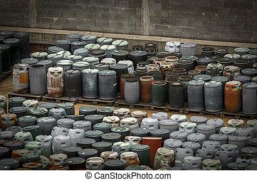 kemikalie slösa, dumpa, med, mycket, av, cylindern