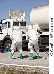 kemikalie spill, efter, väg olycksfall