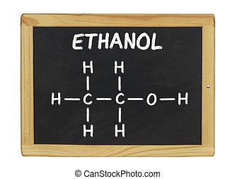 kemisk, blackboard, etanol, formel
