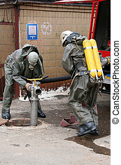 kemisk, Brandmän, skydd, passa
